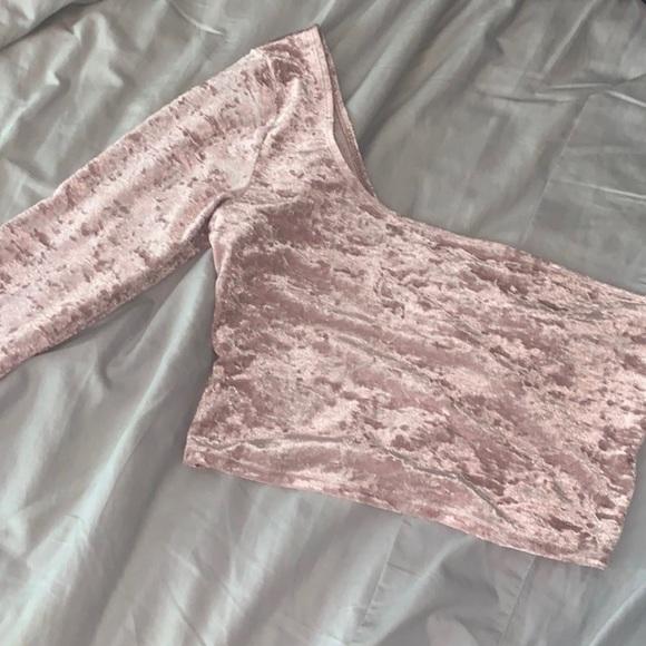 TNA Velvet Pink Long Sleeve Crop Top size S